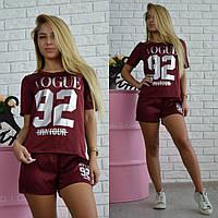 Костюм женский спортивный из шелка футболка и шорты Vogue разные цвета Df578