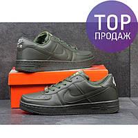 Женские кроссовки Nike Air Force, эко кожа, темно зеленые / кроссовки женские Найк Аир Форс, беговые
