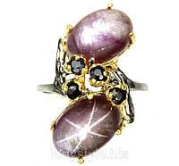 """Необычный перстень """"Поднебесный """" с звездчатыми рубинами и сапфирами , размер 18 от студии LadyStyle.Biz"""