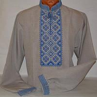 Сорочка вышиванка для мужчин лен бежевая