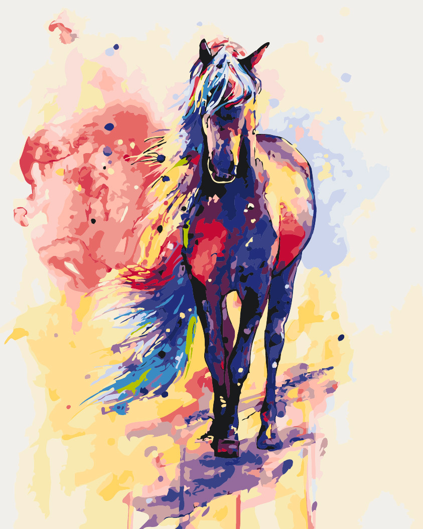 Живопись по номерам Идейка Радужный конь (KHO2497) 40 х 50 см (без коробки)