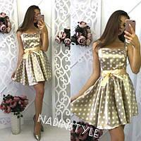 Платье модное с пышной юбкой в горошек стрейч-шелк разные цвета SMd1667