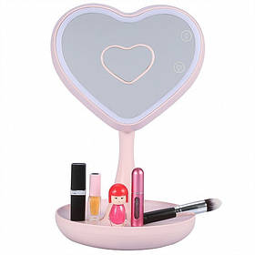 Зеркало для макияжа с подсветкой и тайником. Сердце Розовое