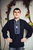 Модная мужская рубашка вышиванка черная