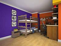 """Детская двуярусная деревянная кровать """"Трансформер 2"""""""