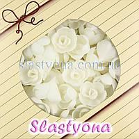 Вафельные Розы малые (белые, 25 мм, 160 штук)