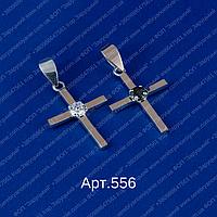 Женский крестик арт.556 из серебра925 и пластин золота375 с фианитами