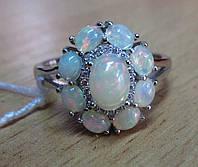 """Шикарное кольцо с натуральным  опалом """"Вечерние огни"""", размер 18.6 , от студии LadyStyle.Biz"""