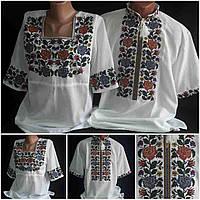 """Нарядные рубашки с вышивкой """"Летний багрянец"""", 100% хлопок, 42-58 р-ры, 1100/960 (цена за 1 шт. + 140 гр.)"""