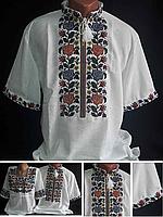 "Оригинальная мужская вышиванка ""Летний багрянец"" на домотканке, 42-60 размер, 580\480 (цена за 1 шт. + 100 гр)"