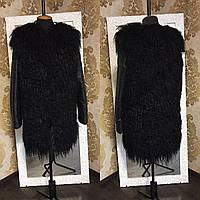 Шуба из ламы с кожаными рукавами
