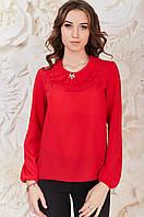 Красная женская Блуза с жабо Карина Размер 44-50