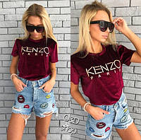 Женская футболка из велюра Kenzo р.42-44