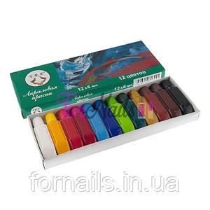 Набор акриловых красок YRЕ в наборе 12 цветов, 6 мл