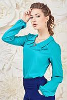 Яркая женская Блуза с жабо Мятная Карина Размер 44-50