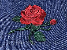 Нашивка Роза 2 бутона красная 115x92 мм