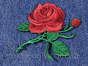 Нашивка Роза 2 бутона красная 115x92мм
