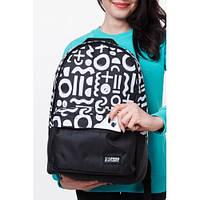Надежный городской рюкзак черного цвета с рисунком. Хорошее качество. Вместительная модель. Код: КДН2032
