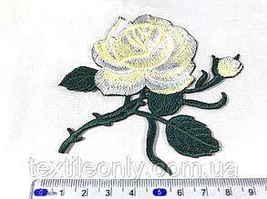 Нашивка Роза 2 бутона лимонная115x92 мм, фото 2