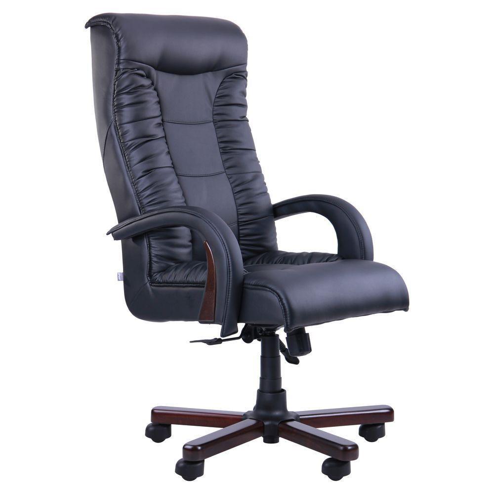 Кресло Кинг Люкс Anyfix орех Кожа Люкс Комбинированная Черная (AMF-ТМ)