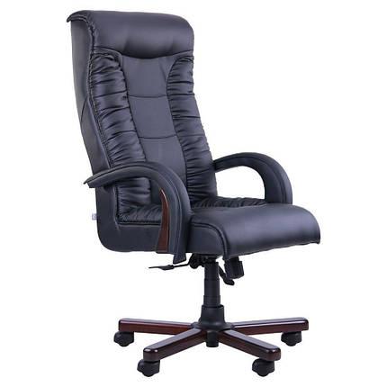 Кресло Кинг Люкс Anyfix орех Кожа Люкс Комбинированная Черная (AMF-ТМ), фото 2
