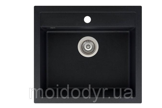 Гранитная мойка   Aquasanitа Quadro sqq100 черный металлик