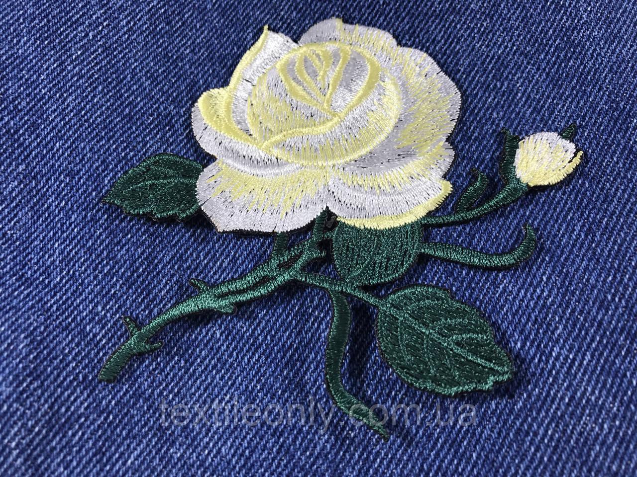 Нашивка Роза 2 бутона лимонная115x92 мм