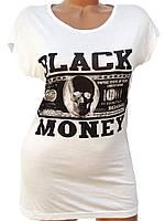 """Белая женская футболка """"Black money"""" (44,46)"""