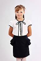 Блузка для школы для девочек Илона размеры 122, 128, 134, 140 оптом и в розницу