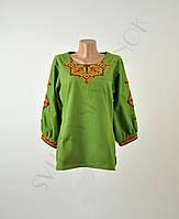 Жіноча вишиванка зеленого кольору з машинною вишивкою недорого 5b294427b76c6