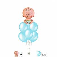 Букет для роддома из шаров Фонтан Малыш 10  розовый,голубой