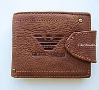 Уценка! Новый. Дефект. Мужской кошелек Giorgio Armani. Натуральная кожа. Кожаный бумажник в коробке. УЦ001