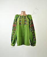 Жіноча вишиванка зеленого кольору з машинною вишивкою