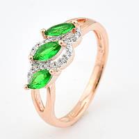 """Кольцо """"Трио"""" 54617 размер 16, зелёные камни, позолота РО, фото 1"""