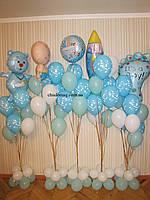 Оформление комнаты новорожденного воздушными шарами для встречи с роддома №1