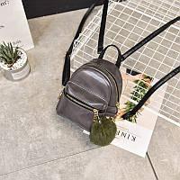 Женский стильный мини рюкзак цвет серый перламутр