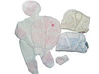 Вязаный комплект для новорожденных, 0-3 мес, арт. 1049
