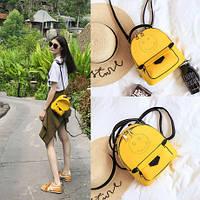 Женский стильный мини рюкзак в стиле Fendi цвет желтый