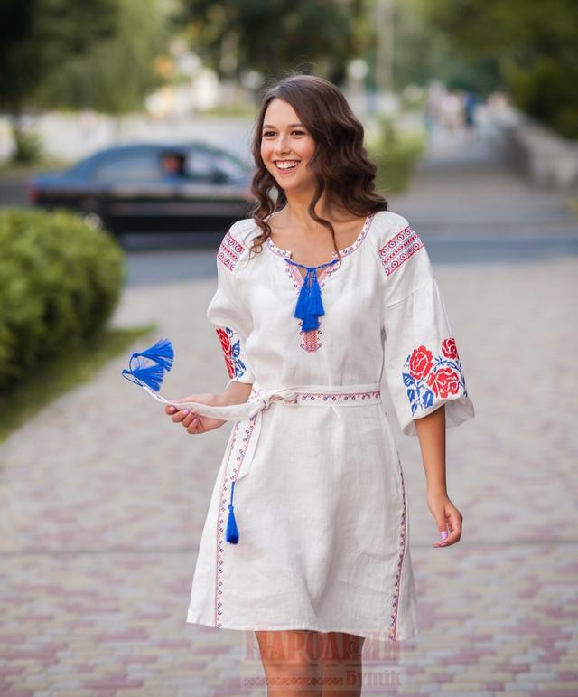 льняное белое платье