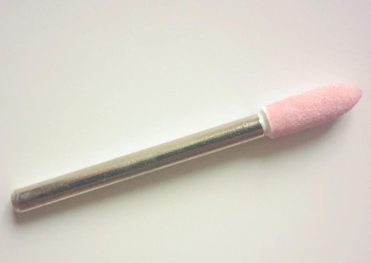 Шлифовальная насадка - пуля 4 мм, Материал - корунд розовый. Абразивная шарошка