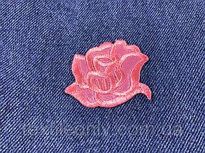Нашивка Роза розовая атлас 55х44 мм, фото 2
