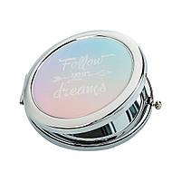 """Косметическое зеркало, нежный дизайн """"За своей мечтой"""""""