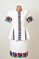 Жіночий вишитий костюм білого кольору на домотканому, фото 1