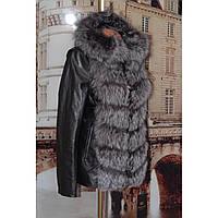 Куртка кожаная с натуральным мехом чернобурки