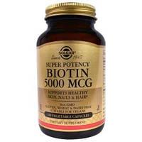 Биотин, Biotin, Solgar, 5000 мкг, 100 капсул