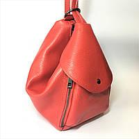 Сумка-рюкзак, кожа, Италия, красная, пудра