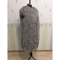 Куртка из ламы с кожаными рукавами