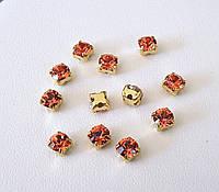 Камни Swarovski в золотых цапах 17704 Gold Plated Padparadscha