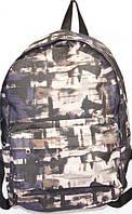 Спортивный молодежный рюкзак серый принт