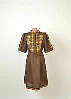 Вишите лляне літнє плаття/сарафан коричневого кольору з етнічними узорами